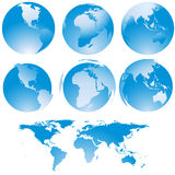 Blue globe set Royalty Free Stock Photography