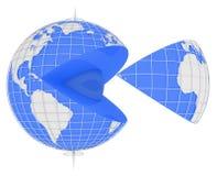 Blue Globe Slice Stock Images