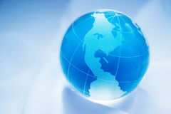 Blue globe western hemisphere. Blue globe showing north and south america Royalty Free Stock Photos