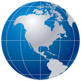 Blue globe on white royalty free stock photography