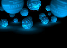 Blue globes. An illustration of blue globes on black background Royalty Free Stock Photography