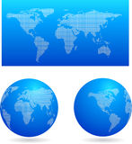 Blue globes and a map of the world Stock Image
