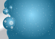 Blue globes and stars. Christmas blue globes and silver snowflakes Stock Photography