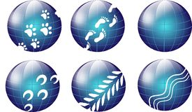 Blue globes with steps Royalty Free Stock Photos