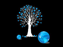 Tree with globes. Silhouette of tree in white with blue world globes on black background Royalty Free Stock Photography