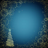 Blue and gloden christmas background Royalty Free Stock Image