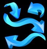 Blue glossy arrows Stock Photos