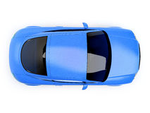 Blue glossy auto top view Royalty Free Stock Image