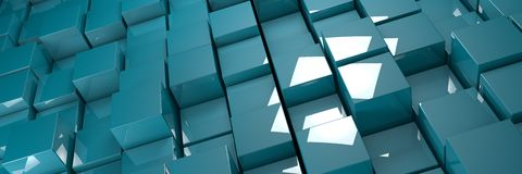 Blue glossy bumpy cubes background. Banner 3d illustration Stock Photos