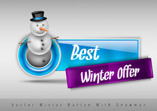 Blue glossy button with cute snowman. Winter vector design eleme Stock Images