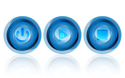 Blue glossy button electronic design on white background Stock Images
