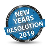 Blue Glossy Button New Years Resolution 2019 With Firecracker And Stars - Vector Illustration - Isolated On White Background vector illustration