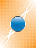 Blue glossy button and orange background Royalty Free Stock Image