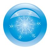 Blue glossy button with snowflake Royalty Free Stock Photos