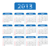 Blue glossy calendar for 2013. Sundays first. Vector illustration Royalty Free Stock Photos