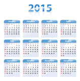 Blue glossy calendar for 2015 in English. Sundays first Stock Photo