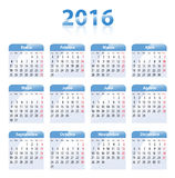 Blue glossy calendar for 2016 in Spanish. Mondays first. Flat design vector illustration stock illustration