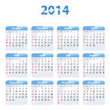 Blue glossy calendar for 2014. Sundays first. Vector illustration Stock Photo