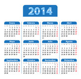 Blue glossy calendar for 2014 year in Spanish. Blue glossy calendar for 2014 in Spanish. Mondays first. Vector illustration Royalty Free Stock Photography