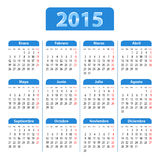 Blue glossy calendar for 2014 year in Spanish Royalty Free Stock Photo