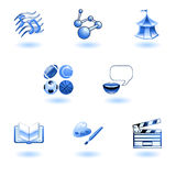 Blue glossy category education web icons. A subject or category icon set eg. science, language, literature, history, music, physical education etc Royalty Free Stock Photo