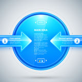 Blue glossy circle with two arrows pointing to it. Useful for presentations or web design. Royalty Free Stock Photos