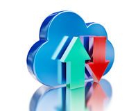Blue glossy cloud and upload download arrows Stock Photos
