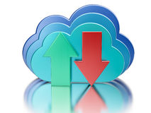 Blue glossy cloud and upload download arrows Stock Image
