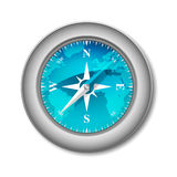 Blue Glossy Compass. With Wind Rose and World Map Stock Photography