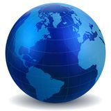 Blue Glossy Digital Globe map. Blue glossy world globe map digital white background of vector Stock Photography