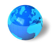 Blue glossy Earth globe. Isolated over white background Stock Images