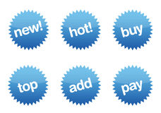 Blue Glossy eCommerce buttons Royalty Free Stock Photography
