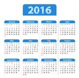 Blue glossy English calendar for 2016. Sundays first. Flat design vector illustration Royalty Free Stock Photos