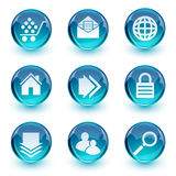 Blue glossy icon set Stock Photography