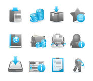 Blue glossy icon set. Vector design elements Royalty Free Stock Photography