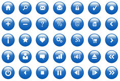 Blue Glossy Icons / Buttons Royalty Free Stock Images