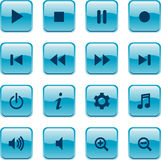 Blue glossy media buttons Royalty Free Stock Image