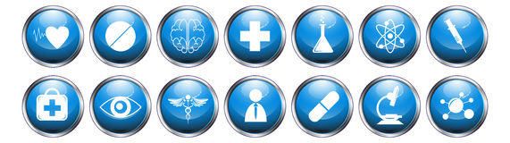 Blue glossy metallic button medical icon set on white background Stock Photo