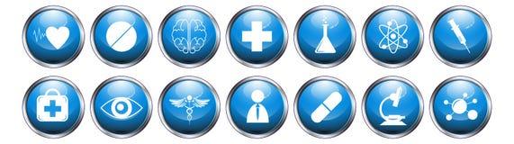 Blue glossy metallic button medical icon set on white background. EPS 10 vector Stock Photo