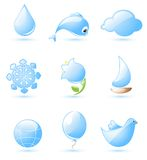 Blue glossy nature icons. Collection of glossy blue nature icons with drop shadow Royalty Free Stock Photo