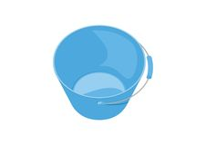 Blue glossy plastic bucket on white background, vector, isolated Royalty Free Stock Photo