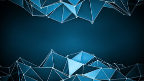 Blue glossy polygonal shape 3D render. Blue glossy polygonal shape. Abstract 3D render. Computer generated futuristic background Stock Photo