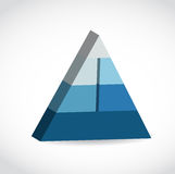 Blue glossy pyramid chart illustration Royalty Free Stock Image