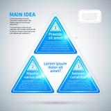 Blue glossy pyramid with three options. Stock Photos