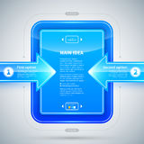 Blue glossy rectangle with two arrows pointing to it. Useful for presentations or web design. Stock Image