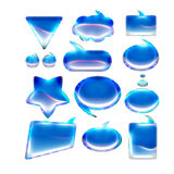 Blue glossy rounded icons , signs for internet banners Stock Photos