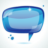 Blue glossy speech bubble Stock Photos