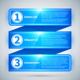 Blue glossy stripe with three different options. Royalty Free Stock Photography