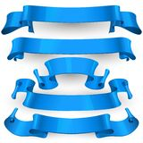 Blue Glossy vector ribbons set Stock Images