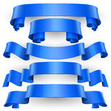 Blue Glossy vector ribbons set Royalty Free Stock Image